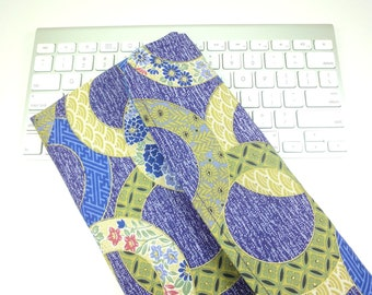 Apple Wireless Keyboard Cover kimono clutch bag Flap Closure Kimono pattern fabric circles purplish blue