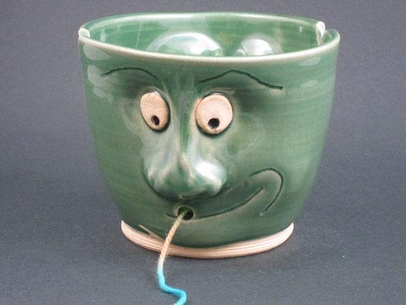 Knitting Bowl Face : Items similar to ceramic face yarn bowl on etsy