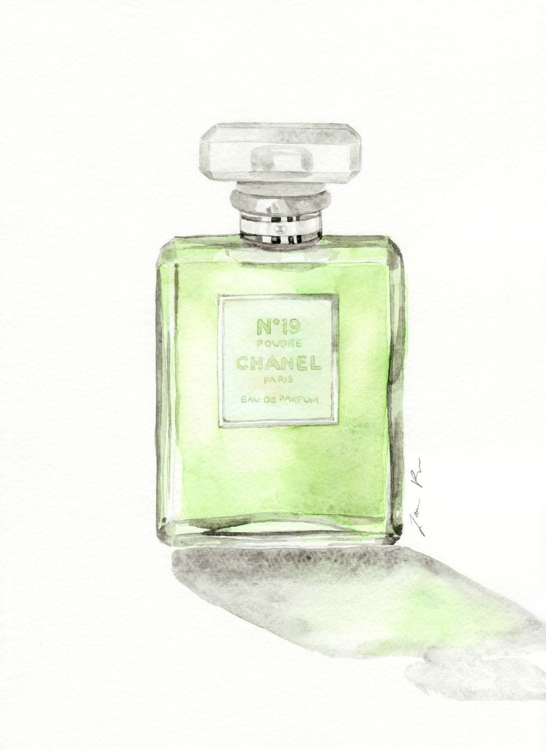 chanel perfume bottle no 19 glass original watercolor 9 x. Black Bedroom Furniture Sets. Home Design Ideas