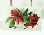 "Antique Greeting Postcard 1911 - ""Christmas Joys"" - Poinsetta"