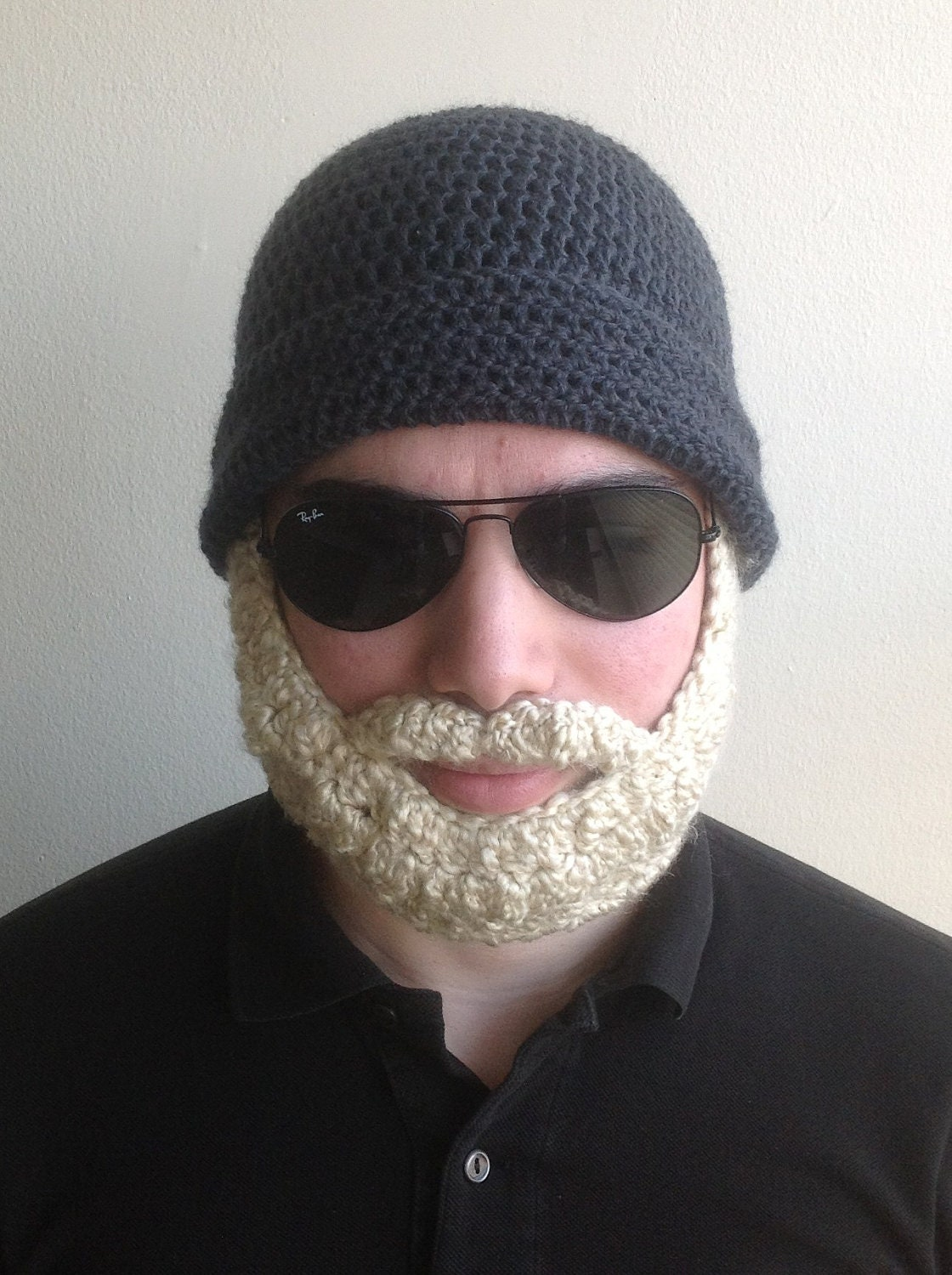 Handmade Crochet Beard Hat In Dark Grey Beanie Hat With Blonde