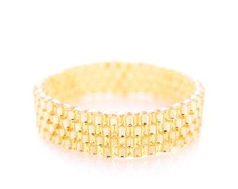 Skinny Gold Ring, Gold Beaded Ring, Stacking Ring, Dreadlocks Bead, Couple Ring