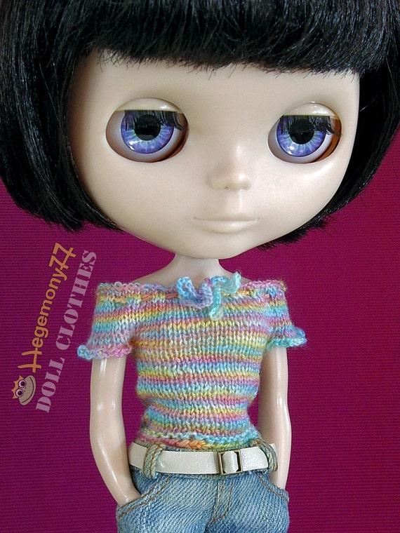 Hand knit doll top for: Blythe, Pullip, Momoko...
