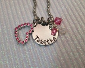 Beautiful Hand Stamped Necklace with Heart Charm & swarovski crystal birthstone Great Gift For Any Mom Child or Grandma