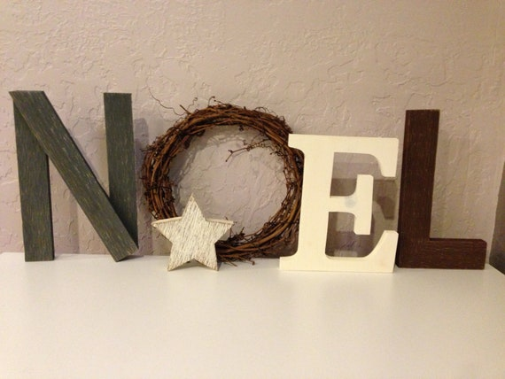 Noel wood letters with wreath christmas decor ready to - Alphabet noel ...