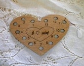 Heart shaped wooden thread organizer laser cut original design can be personalized