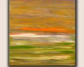 "Original Painting, Green, Orange, White  Abstract, Acrylic on Canvas, size 30"" x 30"" x 3/4"", Modern Art."
