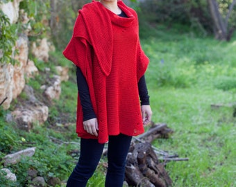 Signature knitwear - Woman Large Knitted Shawl-Wrap  (A199)