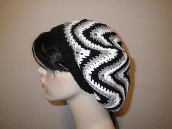 Starburst Ripple Crochet Tam Beret Dreadlock Hat  - Grey/Multi