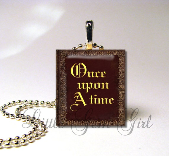 Once Upon a Time Book Scrabble Pendant Jewelry - Vintage Book Necklace - Fantasy Fairy Tale Fairytale Charm