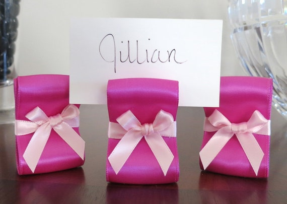 Table Settings Wedding or Baby Girl Shower Decor - 100 Fuchsia and Light Pink Satin Ribbon Place Card Holders - Customize Your Colors