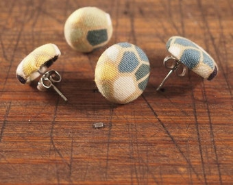 Fabric Covered Button Earring - Geometric Teal