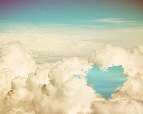 Cloud Heart - romantic photography print gift for her wall decor nursery wedding bridal shower valentine love retro blue sky white cloud