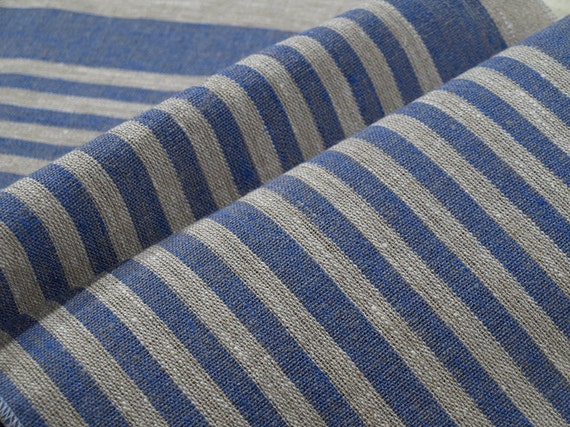 Decorator fabric Upholstery 100% Pure Linen Canvas Ecru Grey Blue stripes Heavy Weight New ECO-friendly - 2 yards