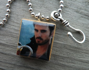 Once Upon A Time Captain Hook Scrabble Tile Pendant And Hook Charm Necklace