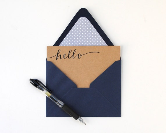 RESERVED Modern Stationery Set . Navy Blue and Brown Kraft . Handwritten Calligraphy . Grey and White Dots . Lined Envelopes . Set of 3
