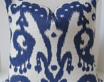 Both Sides 18 x 18 Ikat throw pillow cover blue indigo navy marrakesh Lacefield