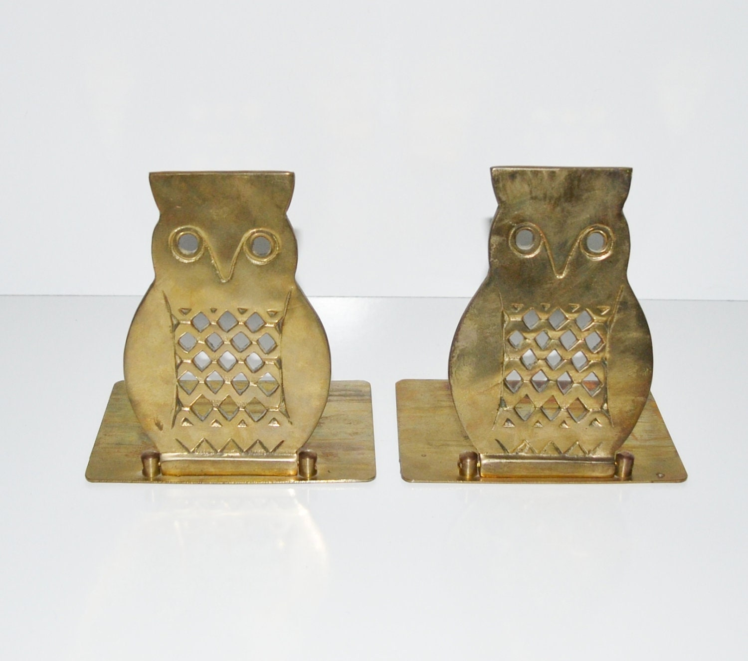 Vintage brass owl bookends mid century bookends by judysjunktion - Antique brass bookends ...