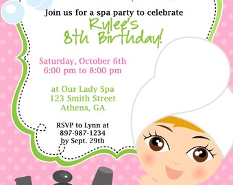 DIY Sassy Spa Party invitation