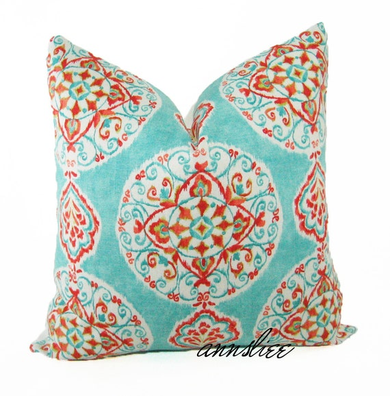 "On Sale OCEAN BLUE PILLOW Cover -20"" x 20"" -Multi Color Medallion Print on Linen"