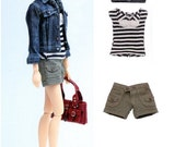 Momoko Casual Shorts, Striped Top and Denim Jeans Jacket Pattern PDF