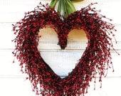 Valentines Day Wreath-Valentines Decor-Wedding Decor-Wedding Heart Wreath-Mothers Day Gift-Red Heart Wreath-Weddings-I LOVE YOU-Wedding Gift