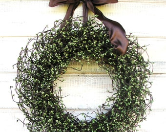 Fall Wreath-Woodland Door Wreath-Rustic Home Decor-Primitive Wreath-Fall Wall Hanging-Holiday Decor-Winter Wreath-Choose Scent and Ribbon