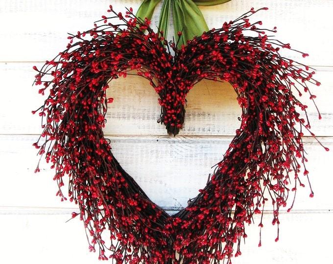Featured listing image: Valentine Wreath-Wedding Decor-Wedding Heart Wreath-Mothers Day Gift-Red Heart Wreath-Weddings-Gift for Mom-Say I LOVE YOU-Wedding Gift