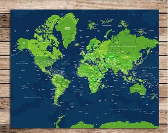 Travel World Poster, WorldMap Details, 11X14 Inches, Custom sizes and Colors available, Farewell gift, Newlyweds, couples, travel