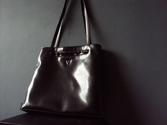 Vintage 90s Patent Vinyl Valentino Shoulder Bag Vegan PU Leather