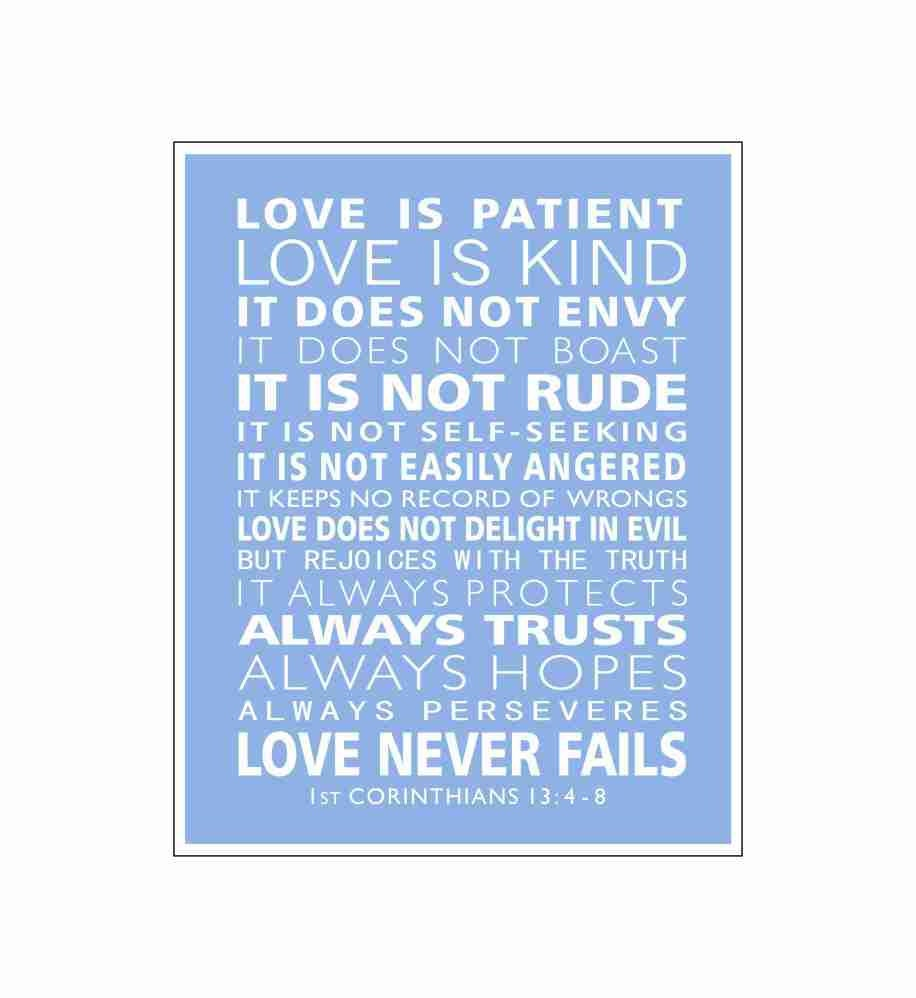 1st Corinthians 13 Love Is Patient Christian Wall Art