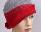 Flapper felt hat, assymetrical retro hat, red and gray felt cloche, 1920s inspired hat, winter hat, Great Gatsby hat