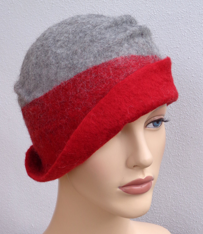 Flapper felt hat assymetrical retro hat red and gray felt
