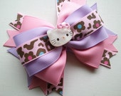 Cute Kawaii, Pink and Leopard Hello Kitty Boutique Hair Bow