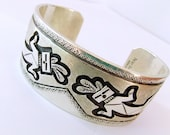 Vintage Southwestern Native American Peter Nelson Sterling Silver Cuff Bracelet