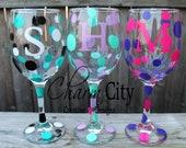 Personalized Wine Glass for birthdays, bachelorette , wedding, bridal