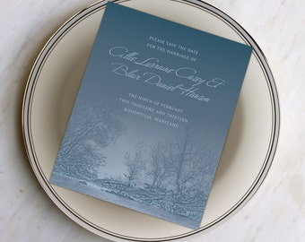 Save the Date Cards with Snow and Trees, A Sweet Quiet Snowy Creek, Winter Wonderland Wedding from our Spring Collection