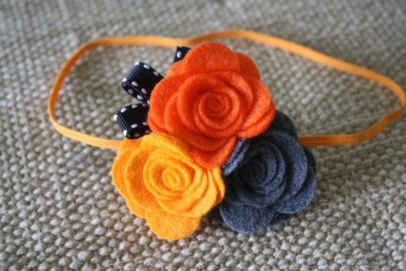 Halloween Baby Headband - Felt Flower Hair Band - Orange Black and Gray