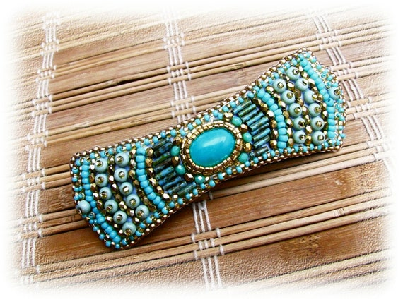 Bead embroidered barrette - OOAK - gold, turquoise, green