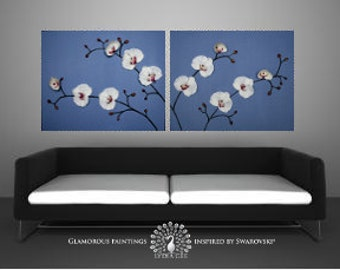 """3D orchids painting """"TRANQUILITY"""". Original painting 3D wall art. White orchid 3d wall decor. Japanese art. Blue painting. Navy art blue art"""