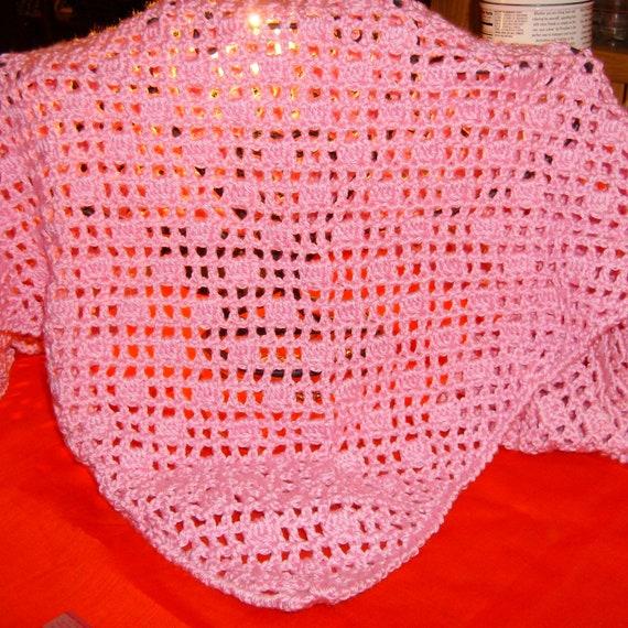 Prayer Shawl, Flamingo Pink, Triangle Shawl, Lace, Crochet, Bernat Satin Yarn, Susan G Komen, Breast Cancer Awareness
