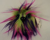 """Furry Monster Plush - Lime Green, Pink, and Purple - 4"""" Coodle"""