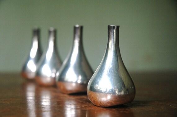 Dansk Onion Candle Holder Set Designed By Jens Quistgaard - Danish Moder Silver Plate Tear Drop Candle Holders