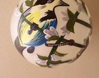 Vintage Christmas Glass Ornament Hand Painted Bird Meadow Lark Bird