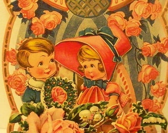 Antique Die Cut Valentines Crepe Fold Out Made In Germany 1930's Antique Ephemera Valentines Day Card