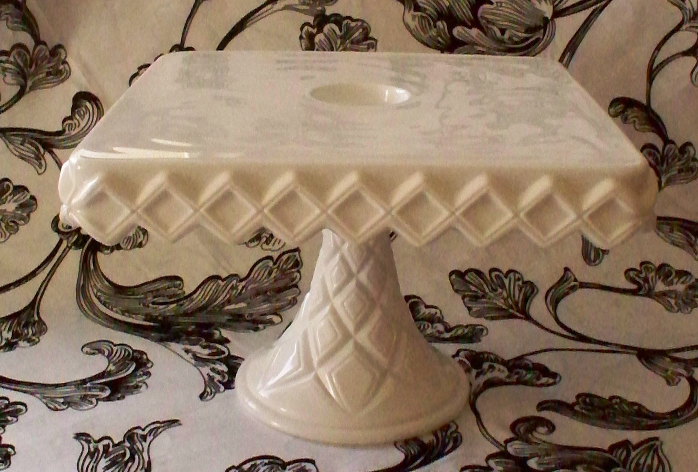 Fostoria Cake Stand Square White Milk Glass Ruffled Diamond