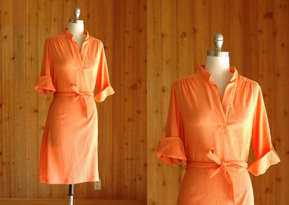 vintage 1970s dress / 70s melon orange day dress / size large