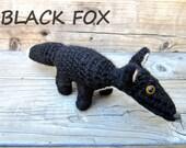 Amigurumi plush black fox crochet partially felted soft animal toy