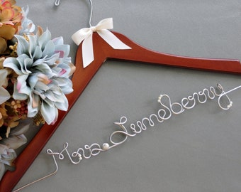 Wedding Dress Hangers for Bride and Bridal Party with Pearl Accents, Bridal Gown Hanger, Photo Prop, Wedding Gift, Name Hanger