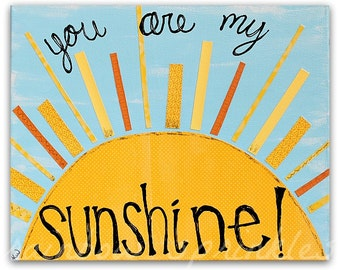 Children's Wall Art Print 8x10- nursery rhyme, you are my sunshine, Kids Art, Kids Room Art, Nursery Art, Nursery Room Decor, Beach Nursery